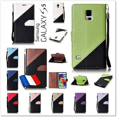 Etui Housse Coque porte-carte Bi-Color Case Cover Samsung Galaxy S5, new, neo