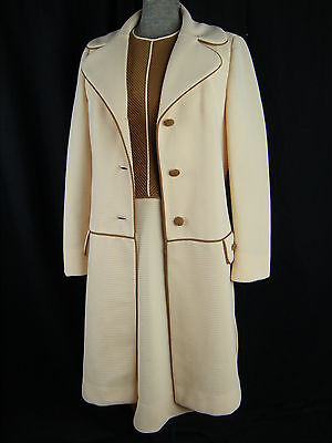 LILLI ANN KNITS Vtg 60s Cream/Brown Textured Knit Dress & Coat-Bust 36/S-M