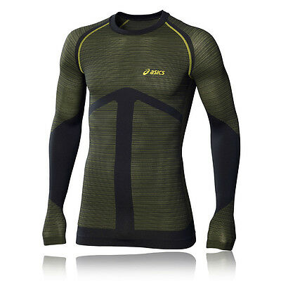Asics Seamless Mens Green Long Sleeve Breathable Gym Sports Running Shirt Top