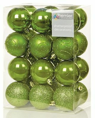 24 X 60Mm Multi Finish Shatterproof Baubles Xmas Christmas Tree Decoration