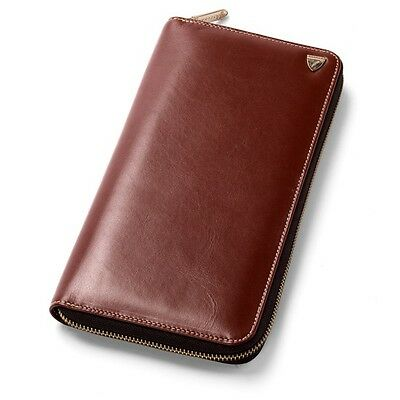 Aspinal of London Zipped Travel Wallet in Smooth Cognac