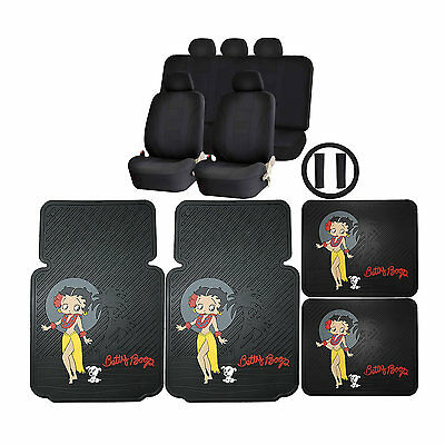 15PC Betty Boop Aloha Front Rubber Floor Mats & U.A.A. Inc. Racing Style Seat C