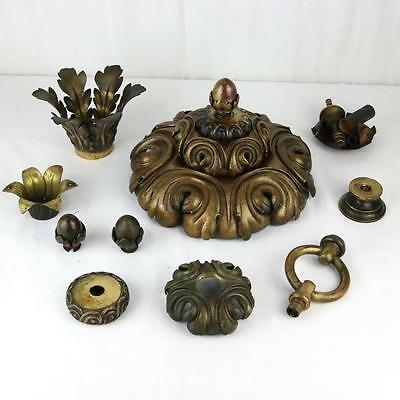 Edward F. Caldwell Bronze Chandelier Parts Chased Gilt Acanthus Finials E F RARE
