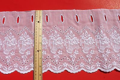 Vintage White Embroidered Floral Lace French Cafe Curtain Fabric By the Yard NOS