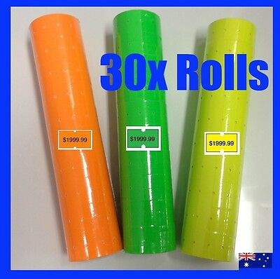 30 Fluro Pricing Price Tag Tagging Gun Label Rolls Bulk