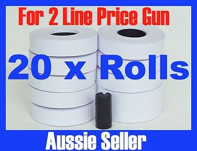 NEW WHITE PRICE GUN TAGS LABELS  x 20 ROLLS FOR 2 LINE PRICE GUN + INK