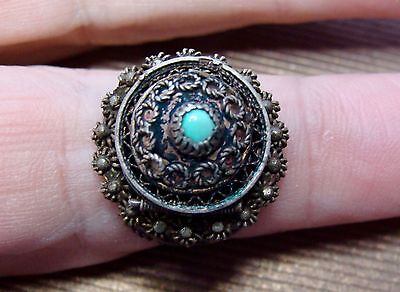 Fine Old Egypt Womens Sterling Silver Posion Snuff Ring