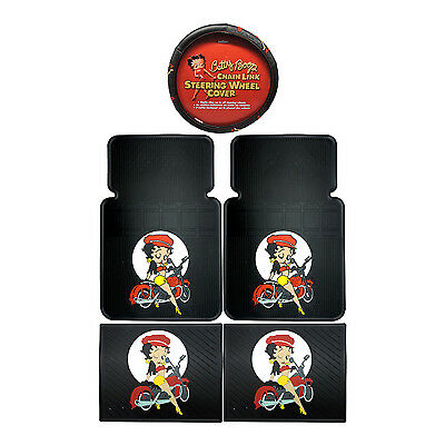4PC Betty Boop Motorcycle Front Rear Rubber Floor Mats & Steering Wheel Cover