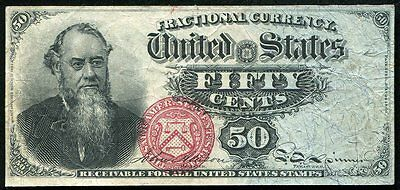 """50 Fifty Cents Fourth Issue """"Stanton"""" Fractional Currency Note Xf"""