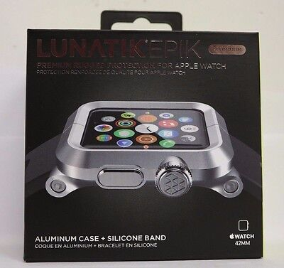 LUNATIK Silver Aluminum & Black Silicone Band for Apple Watch Series 1, 42mm
