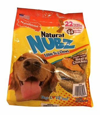 NEW 22ct Nylabone Natural NUBZ Edible Dog Chew  Treats Real Chicken 2.6 lb bag