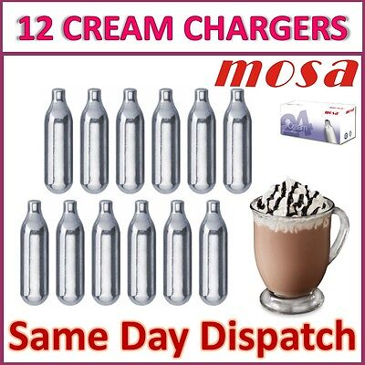 12 x MOSA 8g Whipped Cream Chargers Nitrous Oxide N2O NOS Canisters   UK SELLER