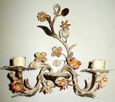 Vintage Italian Tole Painted Floral Wall Sconce