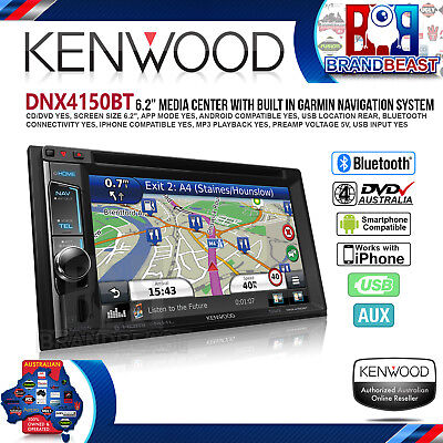 "Kenwood Dnx4150bt 6.2"" Dvd Navigation Wireless Mirroring Hdmi Bluetooth Ipod And"