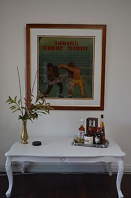 Original tooths hand painted boxing pub art Jimmy Carruthers V Elley Bennet