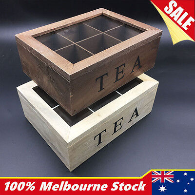 6 Compartment Wooden Tea Box Chest Tin Caddy with Glass Tea Storage Antique
