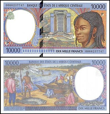 Central African States 10,000 (10000) Francs, 2000, P-605Pf, UNC, PREFIX-P, Chad