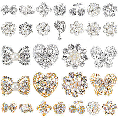 Hot 12pcs Mixed Alloy Vintage Style Rhinestone Crystal Brooch DIY Bouquet AB165