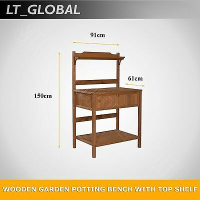 2 Tiers Removable Table Top Wooden Garden Yard Potting Planter Bench Free Hooks