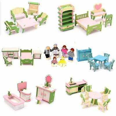 6 Set Dolls House Room Wooden Furniture + 6 Family Doll Child Kids Xmas Gift Toy