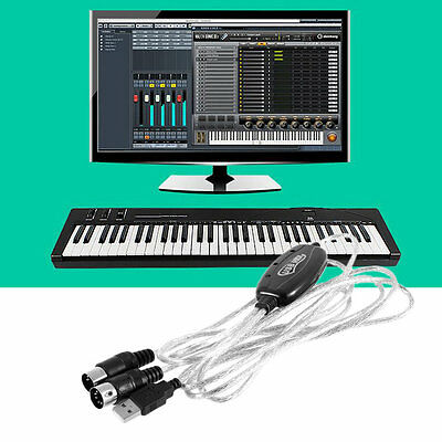 New USB IN-OUT MIDI Interface Cable Converter PC to Music Keyboard Cord BY