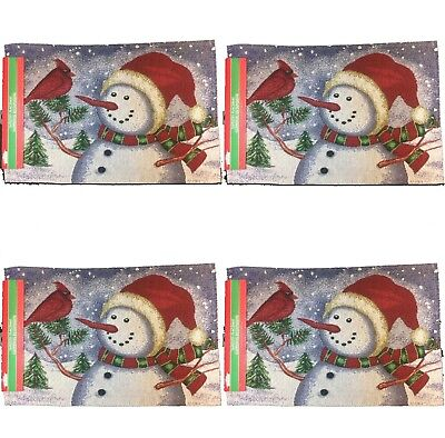 4Pc SET-Holiday Christmas SNOWMAN TAPESTRY PLACEMATS Winter Wall Door Decoration
