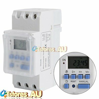 【AU】AC 220V 16A DIN Rail Digital LCD Power Programmable Time Relay Timer Switch