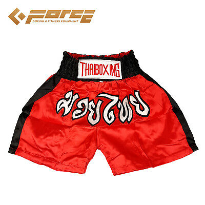 Adults Men Women Muay Thai Pants Kick Boxing Trunks Satin Red Blackstrip