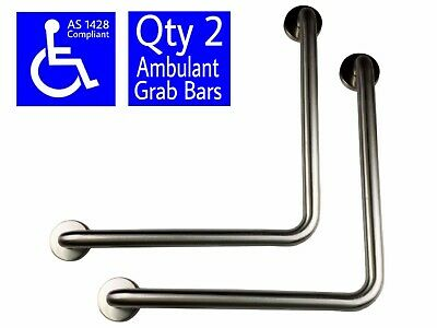 2x SAFETY RAIL AMBULANT GRAB BAR STAINLESS STEEL DISABLED TOILET HAND ANGLED