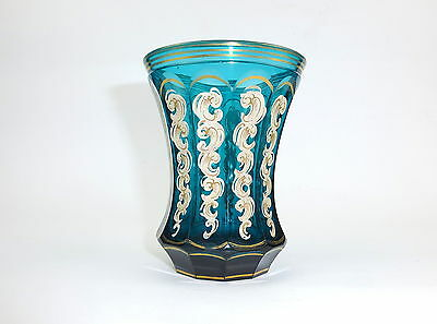 Extraordinary Biedermeier Glas with Enamel color painting Water-green um 1840