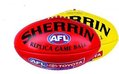 Sherrin Official AFL Replica Game Football Red/Yellow  Leather Size 5 RRP$100