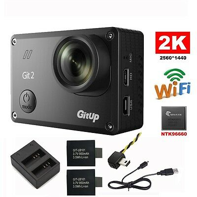 Gitup Git2 Sports Action Camera DVR 1080P 16MP 2K Wifi+Battery+FPV+Dual Charger