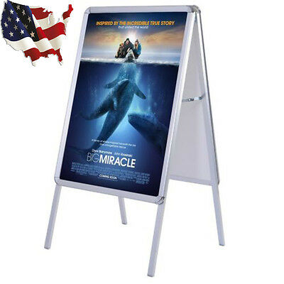 Pro Double Sided A-Frame Poster Stand Street Snap Sign Sidewalk Display Holder