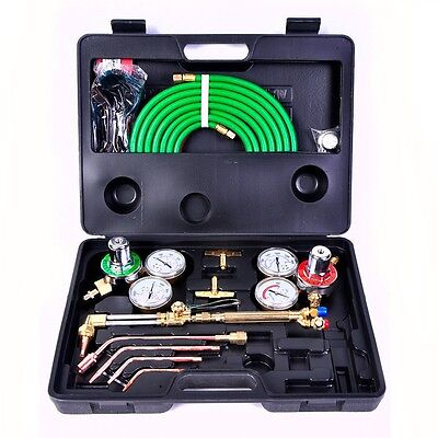 US Auto Gas Welding Cutting Kit Oxy Acetylene Torch Brazing Fits VICTOR W/Hose