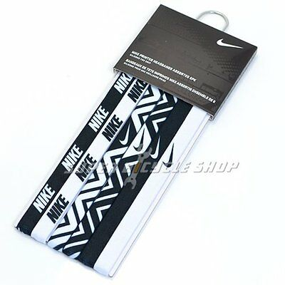 NIKE Printed Headbands Assorted 6PK / One Size ,  Black x White