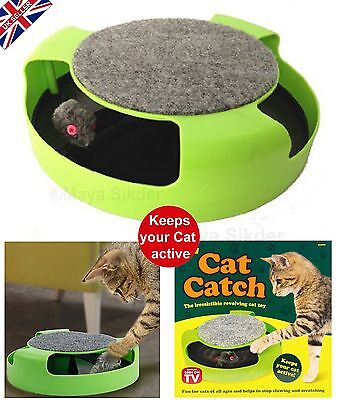 New CAT Catch The Mouse Plush Moving Toy Scratching Claw Care Mat Pet PlayToy-UK