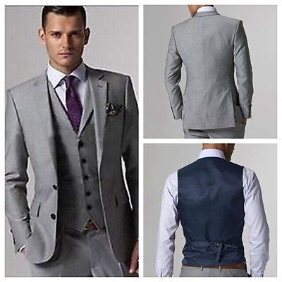 Custom Made Groomsmen Light Grey Men Suits Bespoke Wedding Tuxedos Groom Suit