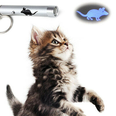 Cat Dog Funny LED Laser Pointer Light Pen Pet Toys With Bright Mouse Animation