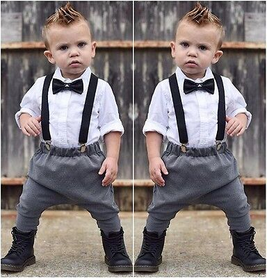 2PCS Cute Kids Baby Boys Outfits Shirt Tops+Pants Overalls Gentleman Clothes Set