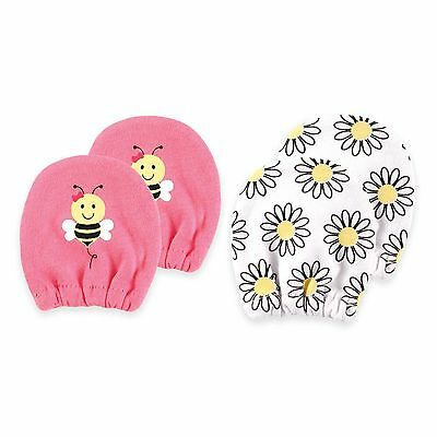 Luvable Friends 2 Pack Girls Scratch Mittens 100% Cotton Bees