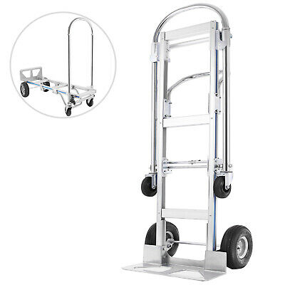 2 IN 1 Compact Aluminium Folding Hand Truck Trolley Luggage Cart Foldable 400KG