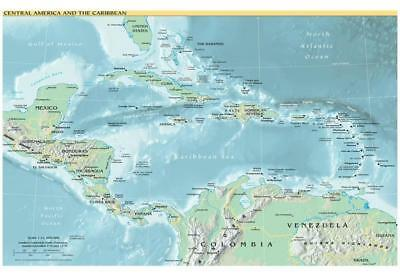 Map of Central America and the Caribbean (Political) Art Poster Print 48 x 33cm