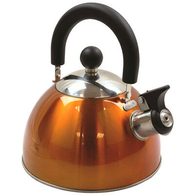 Highlander 2L Deluxe Lightweight Stainless Steel Whistling Camping Kettle Orange