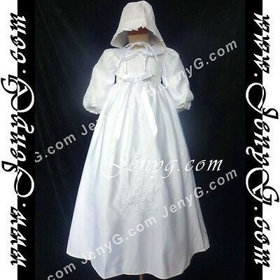 5844 Baby Christening Baptism First Holy Communion Embroidery Gown Dress Bonnet