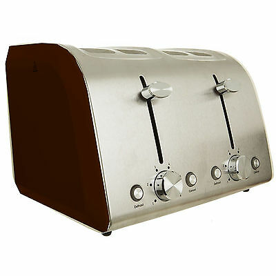 Kitchen Collection Traditional Red Defrost Reheat 4 Slice Toaster Wide Slices