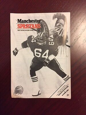 Manchester Spartans v Glasgow Lions 1986 American Football Programmes 16 pages