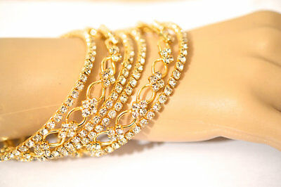 Antique Gold Bangles Clear Crsytal Bollywood Indian Bangle Ethnic Wedding