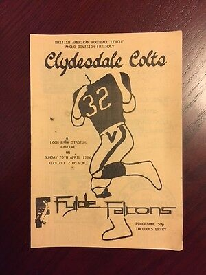 Clydesdale Colts v Fylde Falcons 1986 American Football Programmes 8 pages