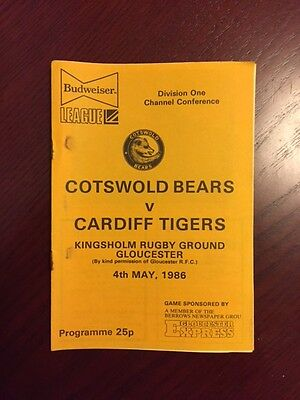 Cotswold Bears v Cardiff Tigers 1986 American Football Programmes 8 pages