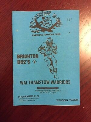 Brighton B52s v Walthomstow Warriors 1986 American Football Programmes 16 pages